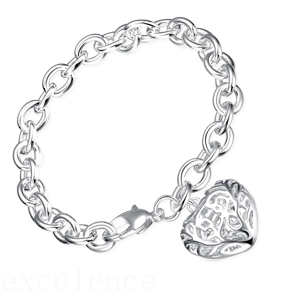 Men Women Silver Plated Chain Bracelet Hollow Heart Cuff Bangle NEW Jewelry Gift