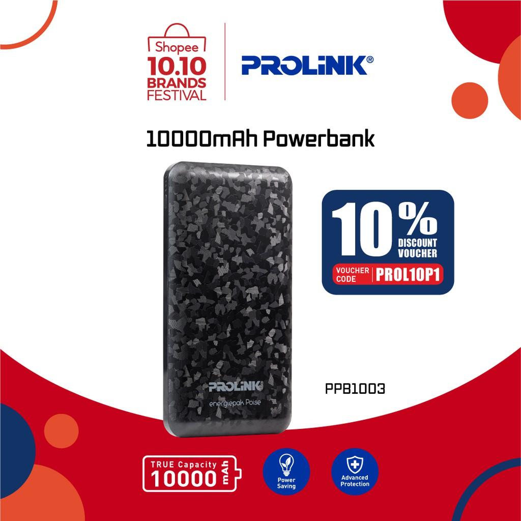 PROLiNK Power Bank 10000mAh 3-Port 1x USB Type-C + 2x USB Type-A (Free USB Type-C Cable) PPB1003
