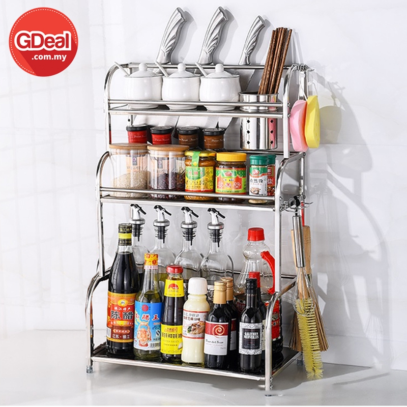 GDeal Kitchen Stainless Steel Seasoning Storage 3 Layer Condiment Shelves Spices Rack With Hanger