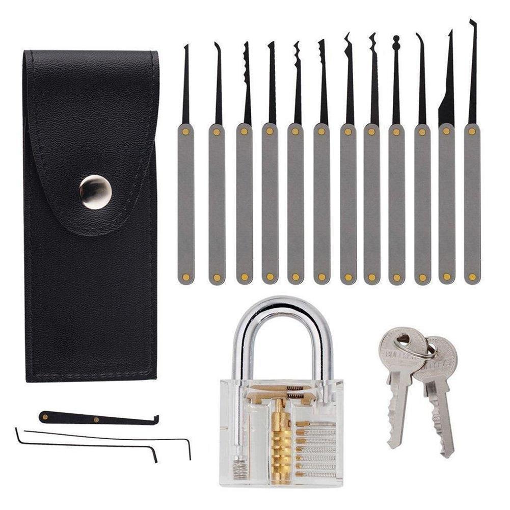 5pcs Unlocking Lock Practice Pick Tools Hooks Set Padlock Pick Set for Training