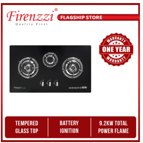 FIRENZZI 3 Burners Tempered Glass Hob (4.0kW + 3.8kW) FGH-3096 cooktop