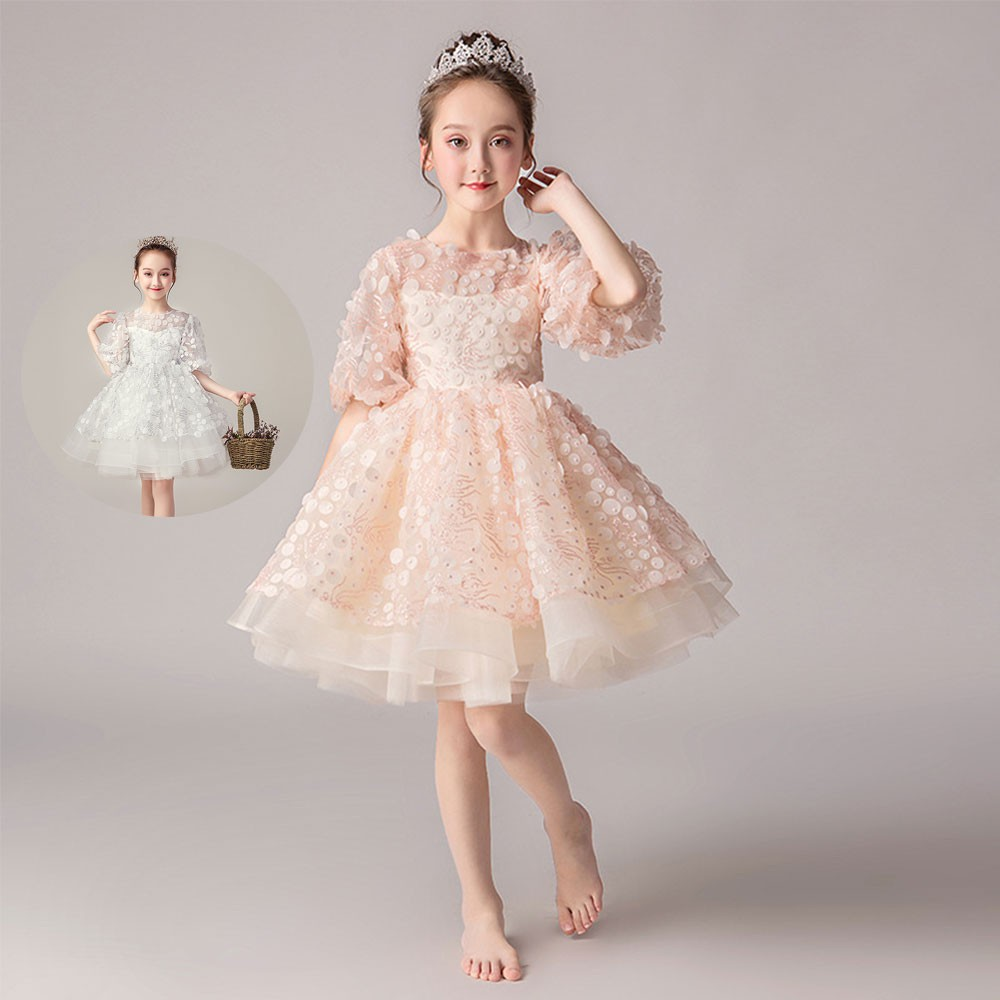 IVORY Flower Girl Lace Dress Graduation Recital Gown Dance Bridesmaid Party Prom