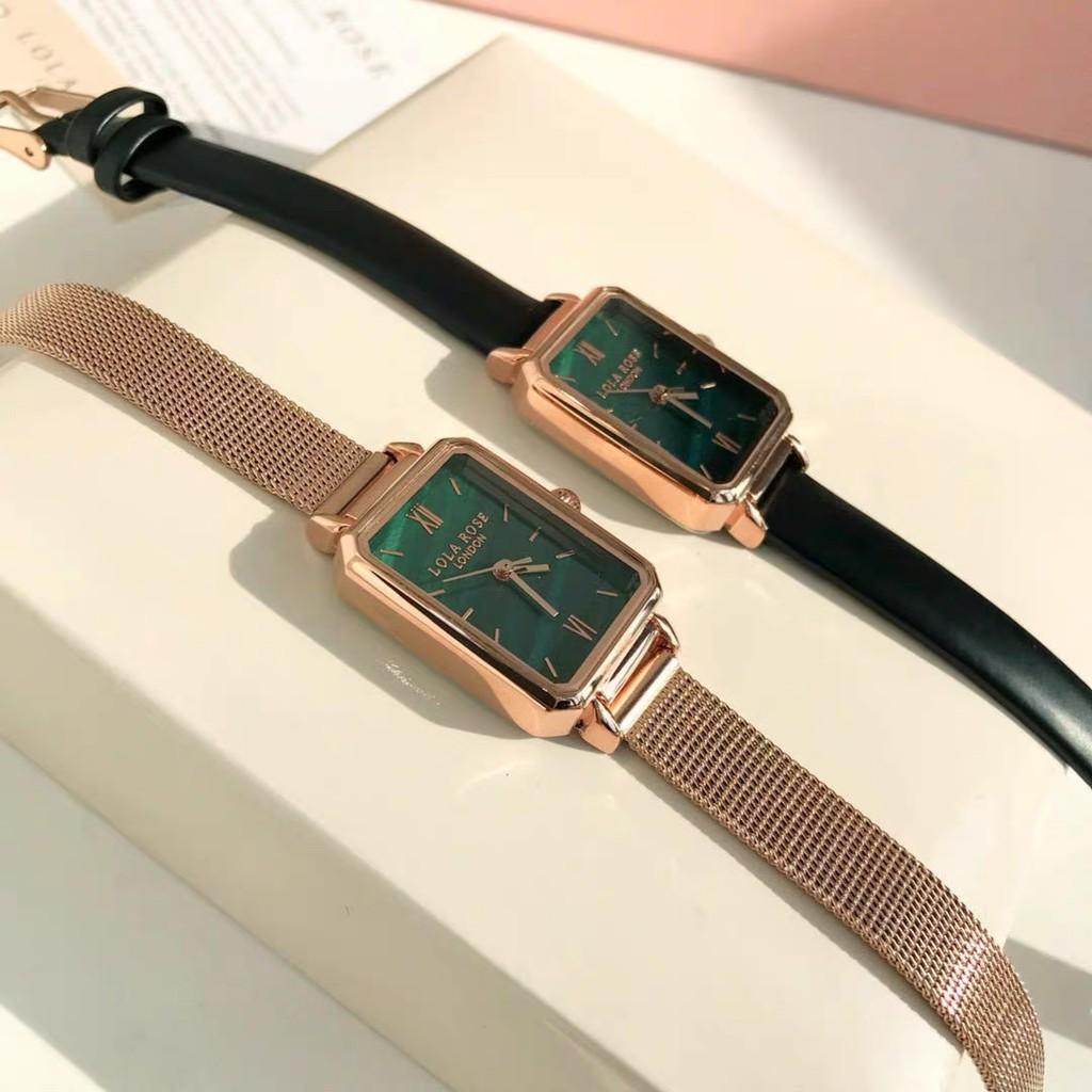 London Lola Rose Women Green Rectangle Leather Quartz Watches Watch (READY  STOCK) | Shopee Malaysia