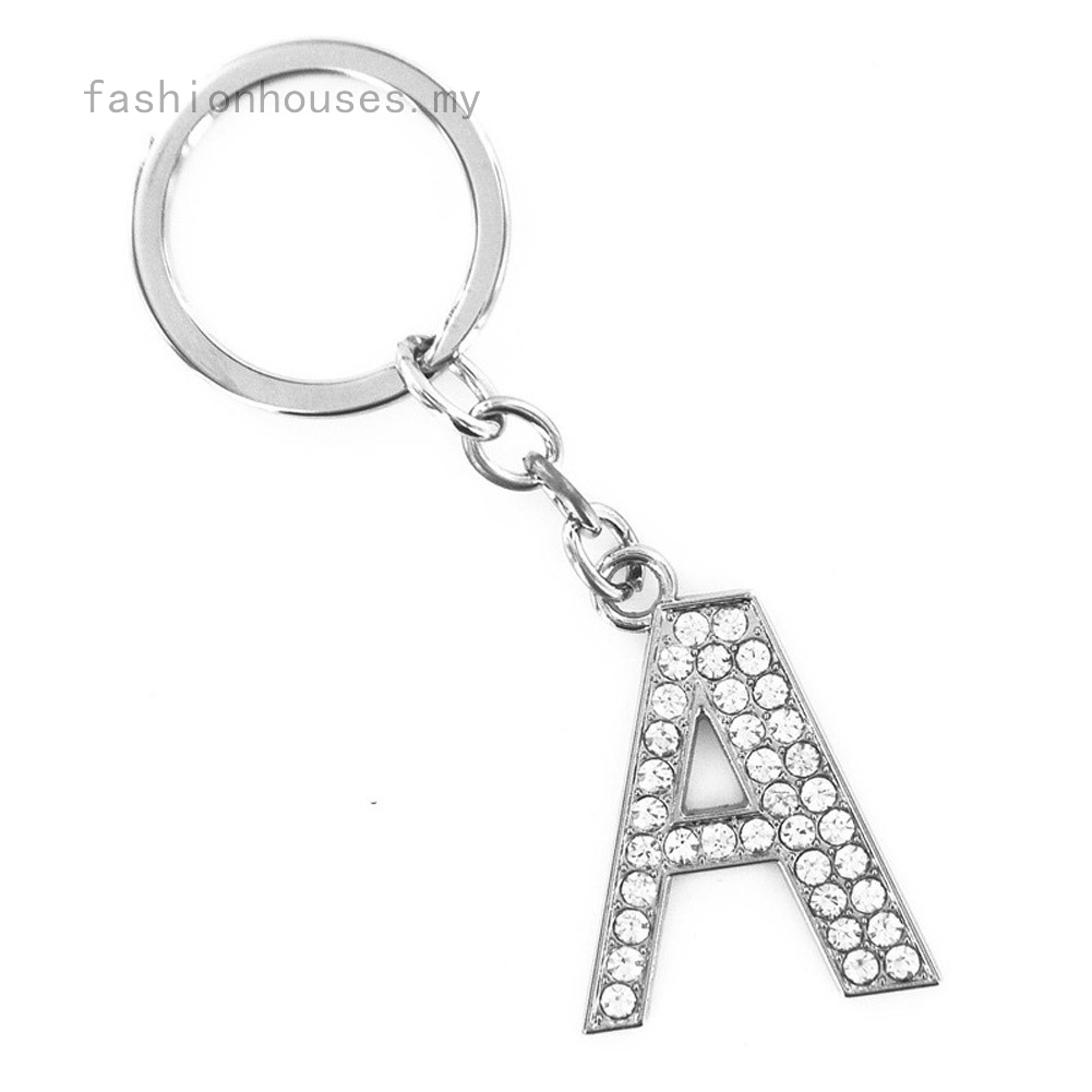 for bracelet, keyring Single Diamante Letter Name Initial Charm Clip On Clasp.
