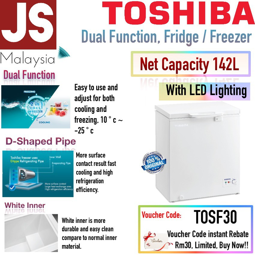Toshiba Freezer Net 142L Capacity Fast Cooling D-Sharp Tube CR-A142M [Dual Function]