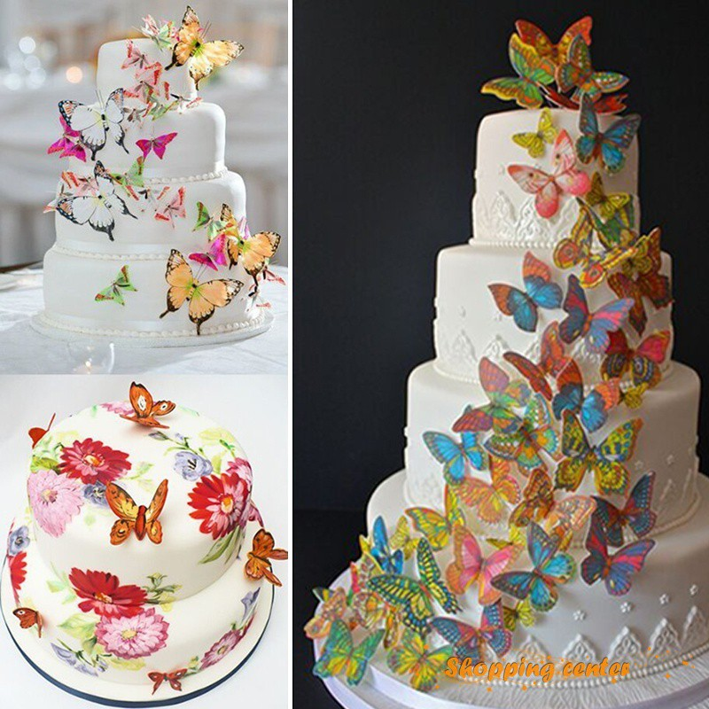 Sc 20pcs Paper Edible Mixed Butterfly Wafer Rice Paper Cake Cupcake Toppers