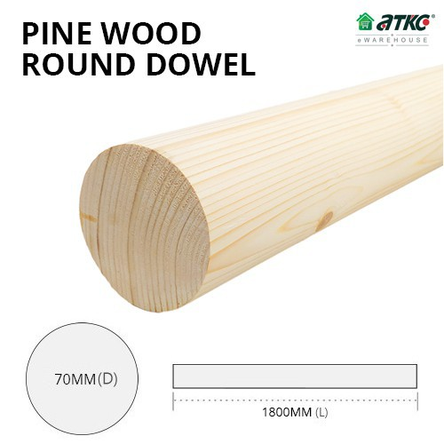 Kayu Pine Wood Timber Smooth Planed Round Dowel 70MM (D) x 1800MM (L)