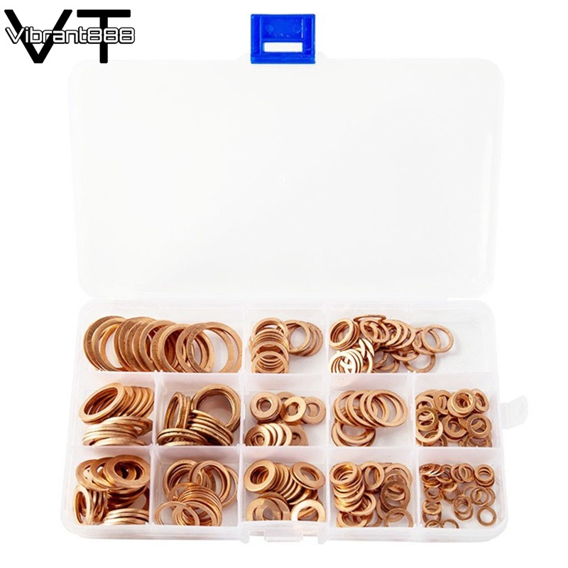 Bright 80pcs Solid Copper Sump Plug Assorted Washers Metal Kit Garage Engine Set With Box Fasteners & Hooks