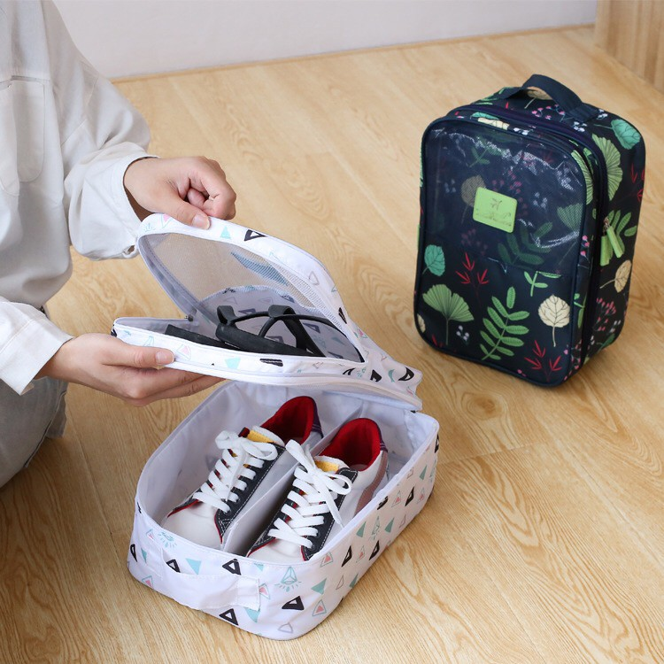 Travel portable shoes double storage bag Navy flamingo 1 pack