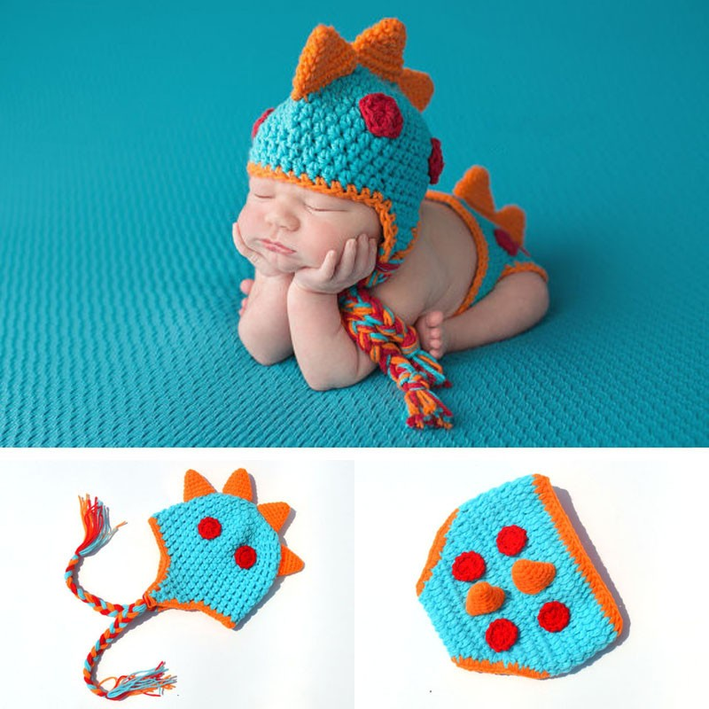 Rainbow Infant Newborn Baby Cute Cartoon Dinosaur Dragon Outfit Knit Handmade Knitted Photo Infant Accessories Photography Props