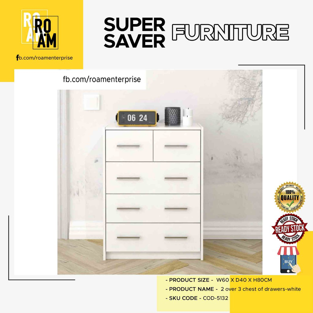 LIBERTY 2 OVER 3 CHEST OF DRAWERS FULL WHITE COLOR COD-5132 ikea alike wardrobe export quality to europe console drawer