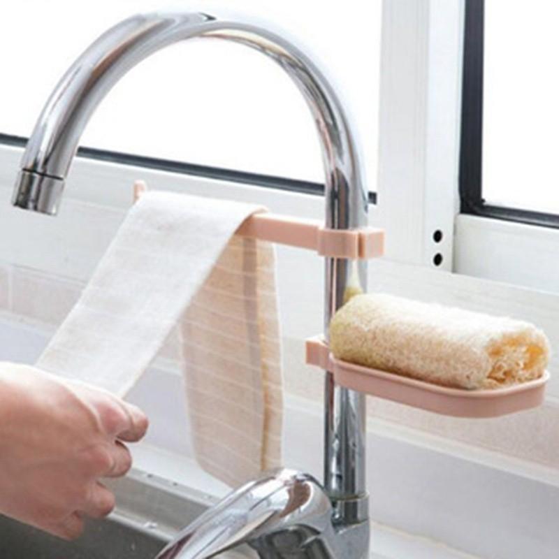 Sink Hanging Storage Rack Sponge Holder Faucet Clip Cloth Clip Shelf Drain UP