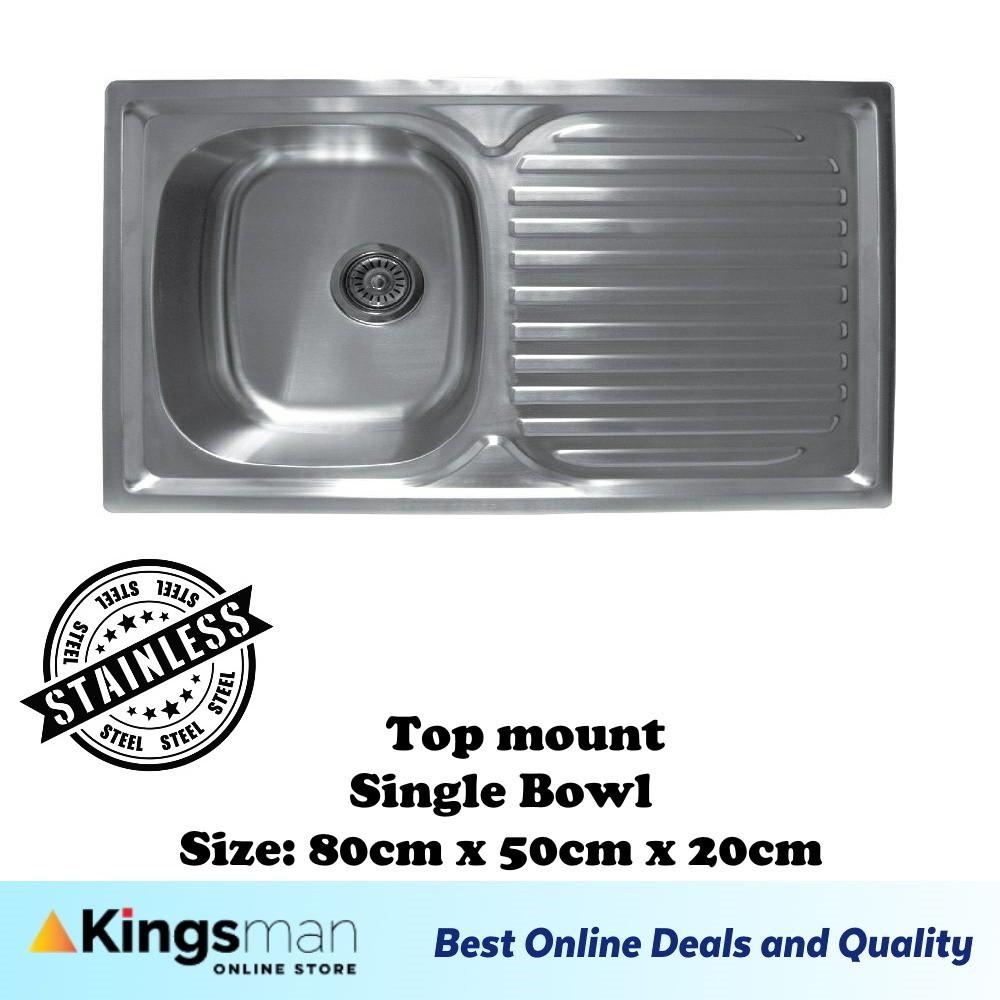 [Kingsman] Normal Topmount Stainless Steel 304 Kitchen Sink Single Bowl