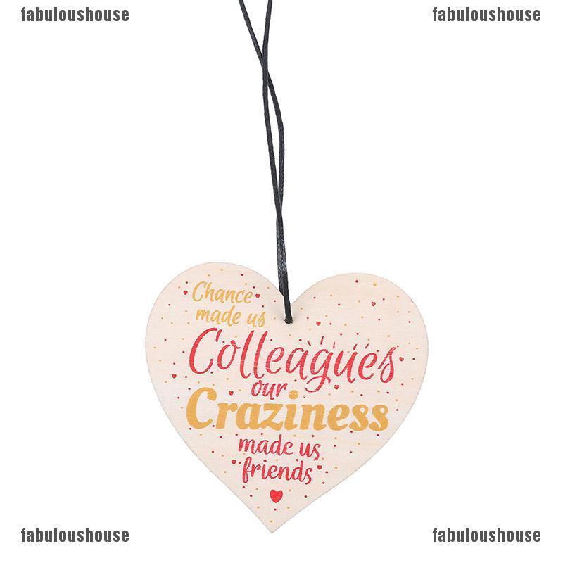 Chance Made Us Colleagues DIY Wooden Heart Plaque Wine Tags Hanging Signs Decor