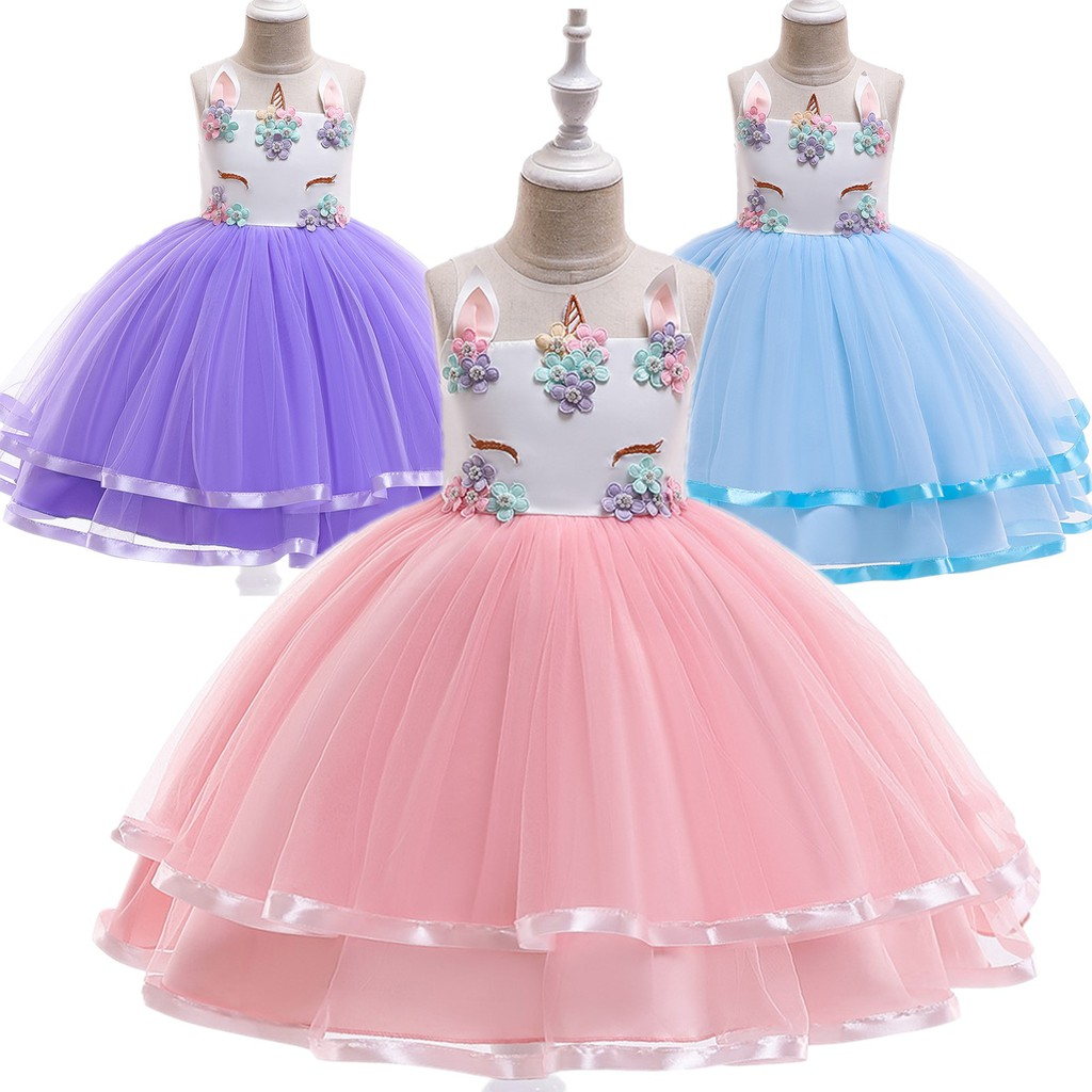 Flower Girls Unicorn Dress up Fancy Costume for Pageant Party Wedding Bridesmaid