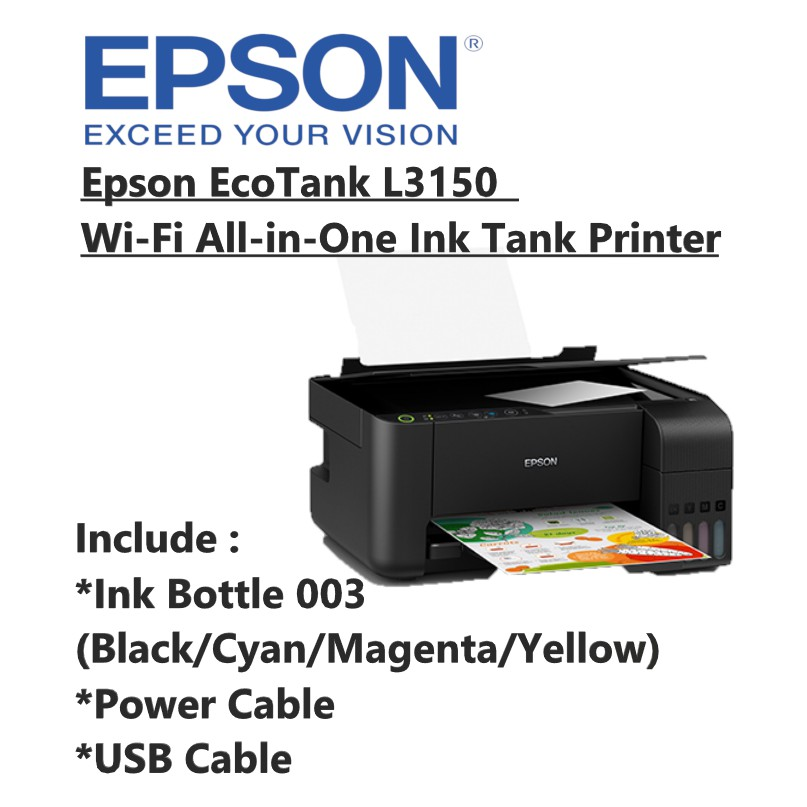 Epson Ecotank L3150 All In 1 Print/Scan/Copy/Wifi Refillable Color Printer