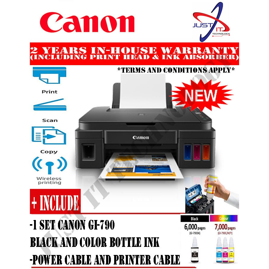 Canon Pixma G3010 Refillable Ink Tank System Gi 790 New Tinta Cyan Ori For Printer G1000 G2000 G3000 Replace Shopee Malaysia