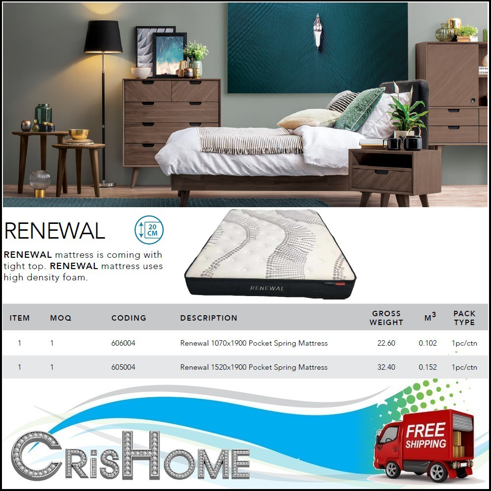 CrisHome - FYND RENEWAL - Tight Top 10 Layer Mattress ( Free Delivery to WM )
