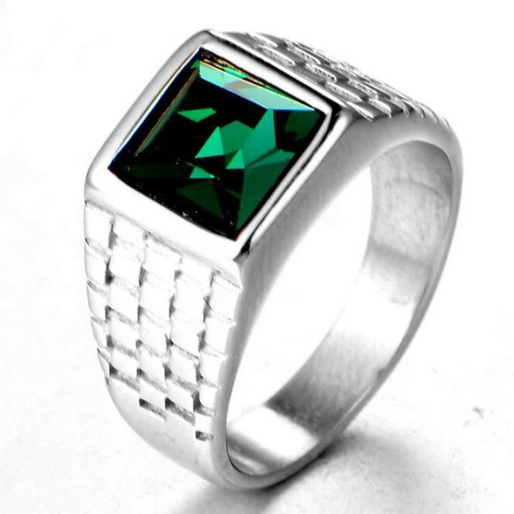 f4a220a929ce1 Men's Punk Square Green Zircon Crystal Silver Finger Rings Jewellery Gift