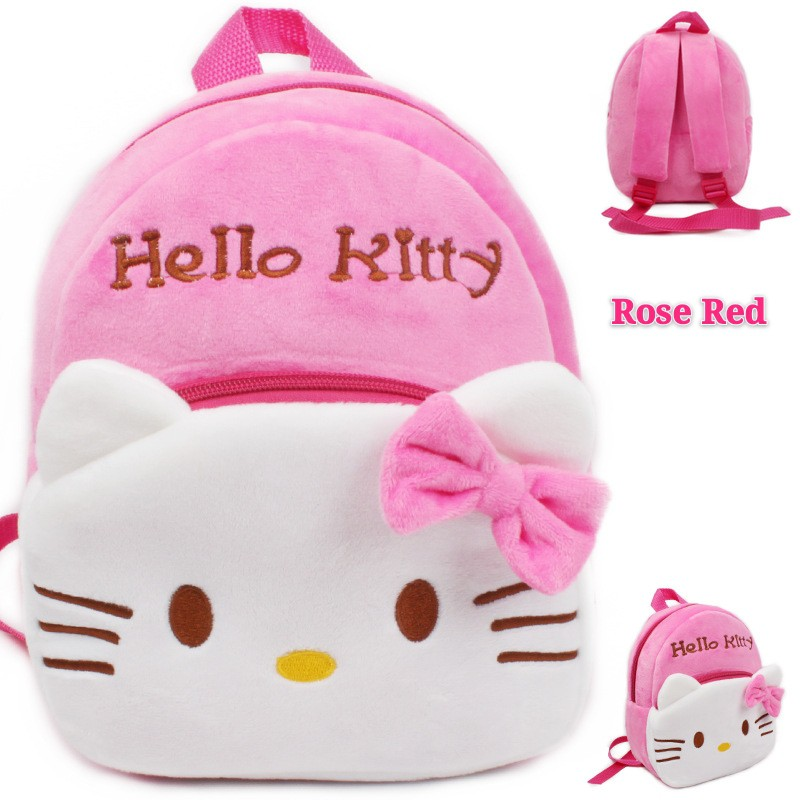 [ READY STOCK ]  Plush Cute Cartoon Hello Kitty Doraemon School Bag For Girl Kindergarten Jualan Murah Sport Backpack