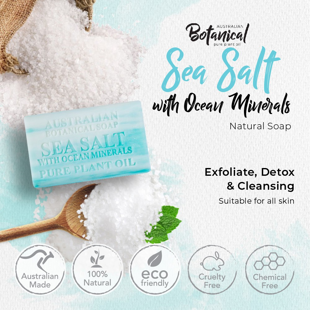 AUSTRALIAN BOTANICAL Natural Soap 200g Sea Salt With Ocean Minerals Skin Exfoliate Deep Cleansing Tone Softening