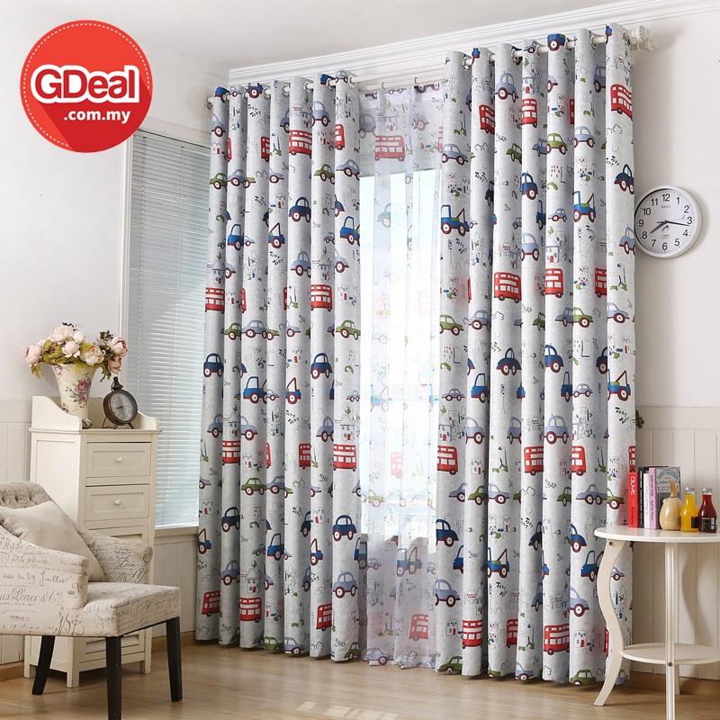 GDeal【Thick Curtains】Langsir Tebal Boys Bedroom Window Blackout Curtain Drape Car Cartoon Design Langsir (100CM x 250CM)