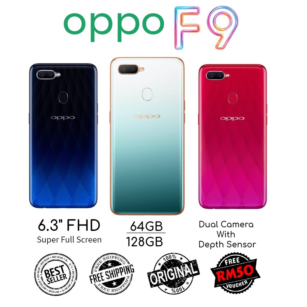 🇲🇾 Ori Oppo F9 64GB |128GB + 4GB RAM Dual Sim Full Set [1 Month Warranty] FREE Screen Protector + FREE RM50 Voucher