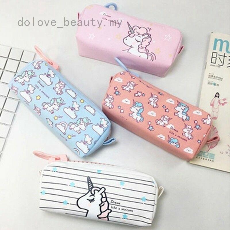 00633e67af82 Zip Box Stationery Canvas Pen Bag Unicorn Pencil Case Makeup Pouch ...
