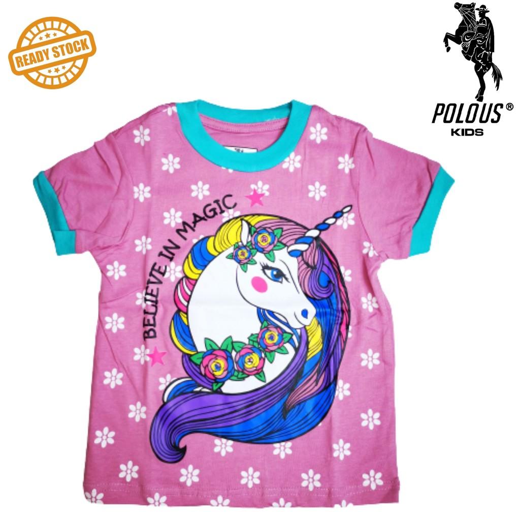 POLO US Girl Cotton Short Sleeve Round Neck Shirt 9014-MAGIC UNICORN