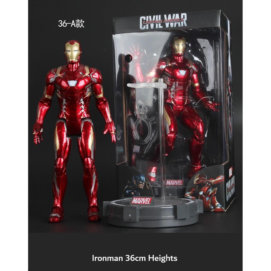 [MARVEL] Large 36cm Iron Man/Captain/Spider-Man Model Toy Complete Set 漫威发光钢铁侠模型