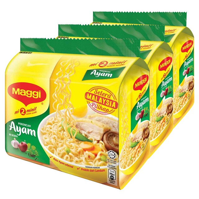 Maggi 2 Min Instant Noodle Chicken 5 X 77g X 3 Packs