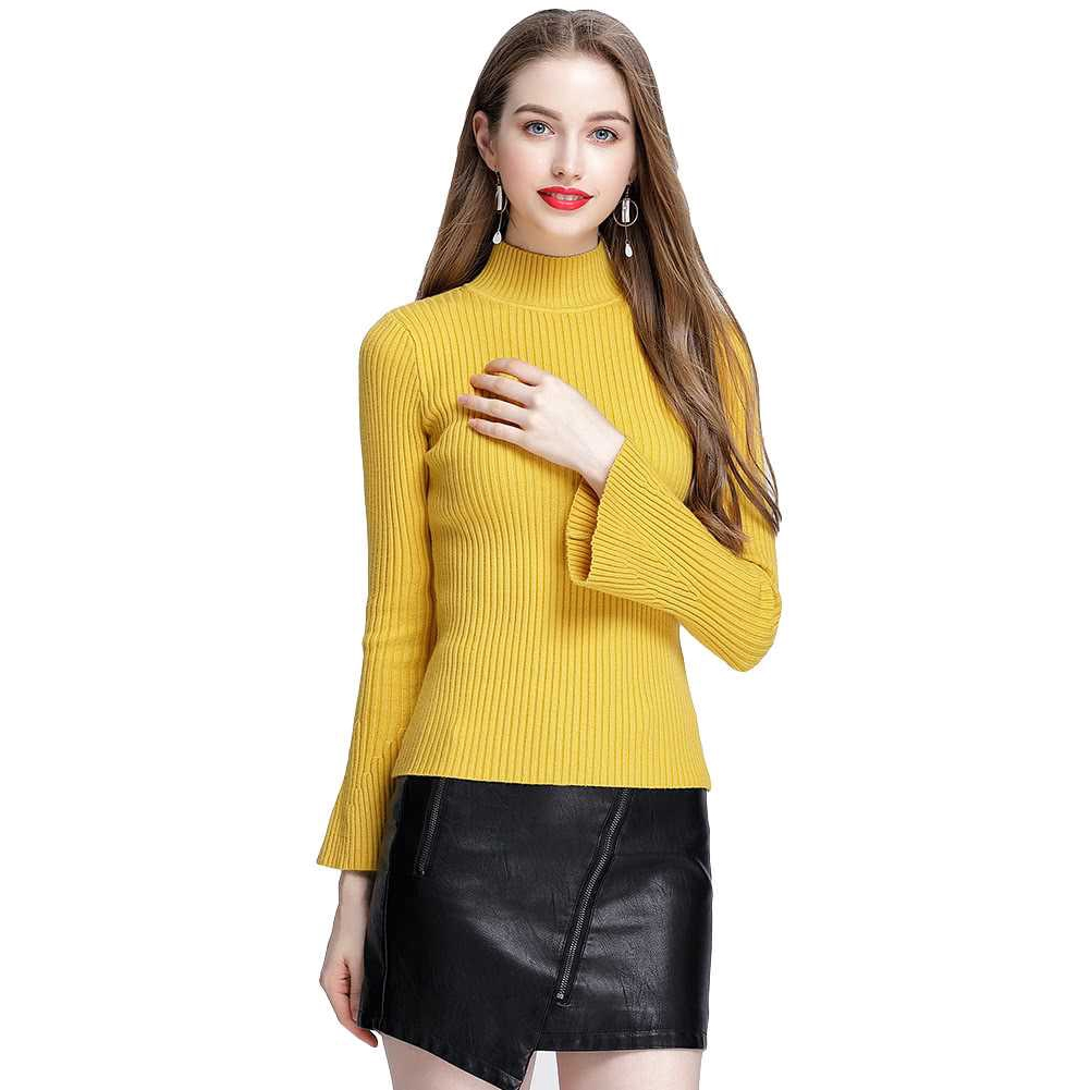 New Fashion Winter Women Ribbed Knit Sweater Flare Sleeves Stand Collar Knitted Pullover Knitwear (Yellow)
