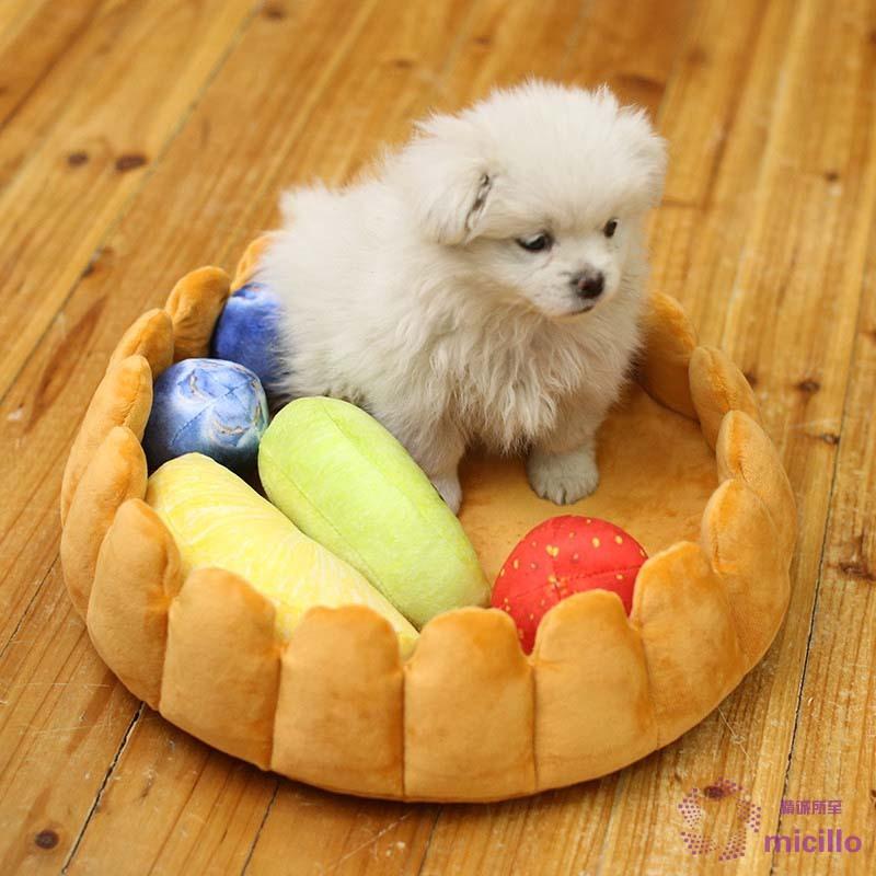 fdd182a9190c Mic★★ Cute Pet Dog Fruit Tart Bed Pad Keep Warm Kennel Cat Sleep Mat Nest  House