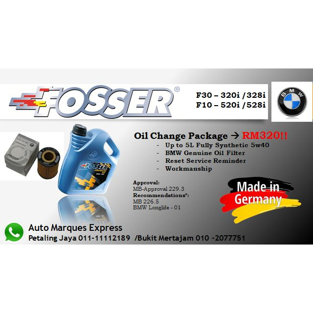 German Oil Change for BMW F10 and F30 for RM320 at Auto Marques Express  (Petaling Jaya and Bukit Mertajam branch)