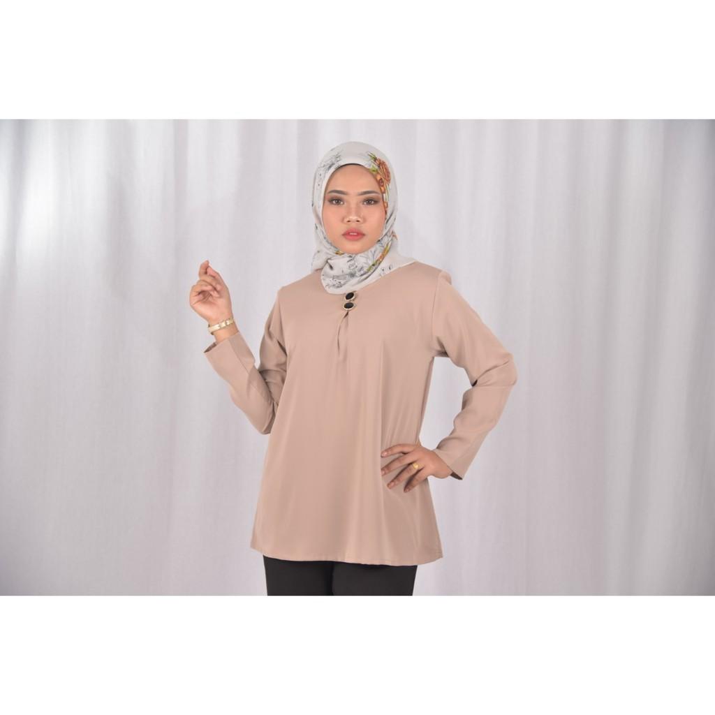 MARYAM Muslimah Fashion Blouse Design -Premium Valentino Silk Long Sleeve Sleeves Plain