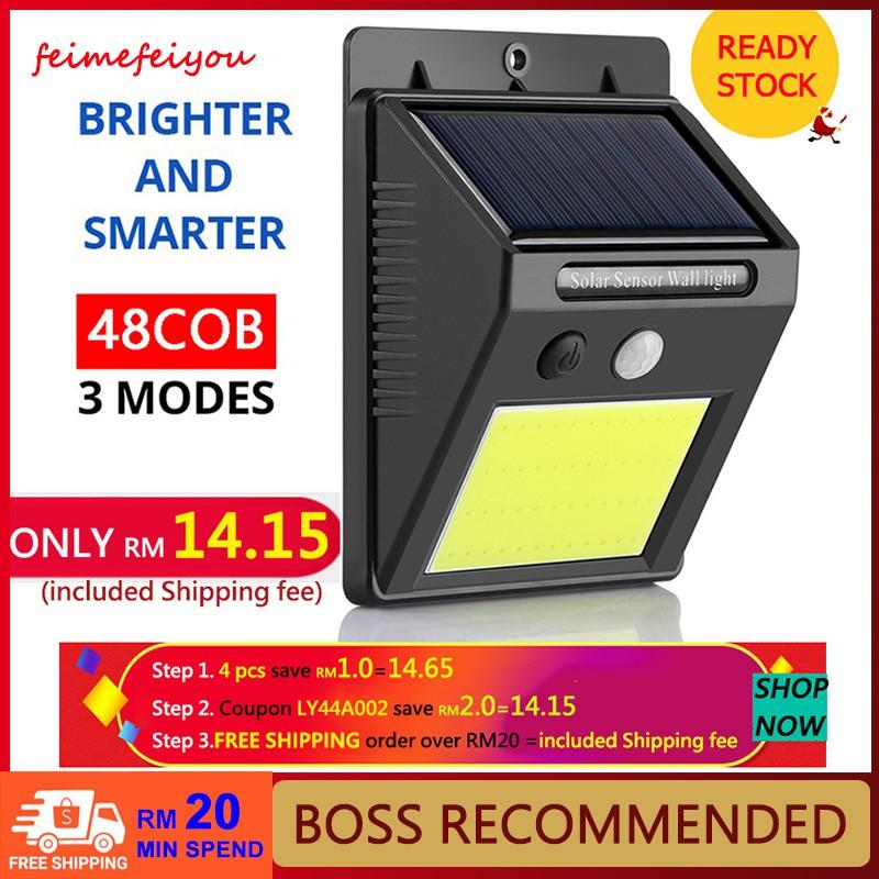 Raya🔥20/30/48 LED Solar Light PIR Motion Sensor Light Control Led Light  Waterproof Wall Light