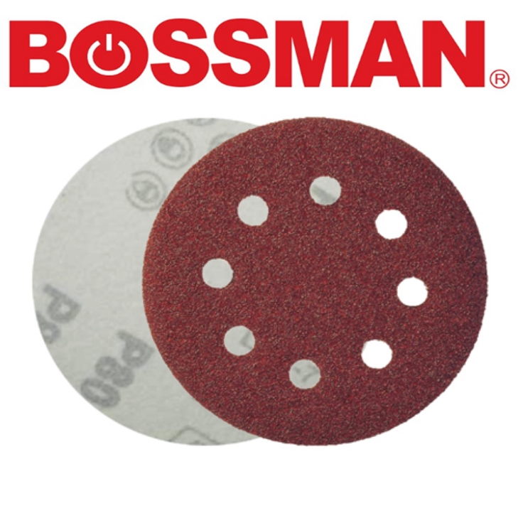 BOSSMAN INDUSTRIAL TOOLS & ABRASIVE PRODUCTS FOR AIR 5'' VELCRO DISC (ALUMINIUM OXIDE) 8HOLES EASYSAFETY GOOD QUALITY
