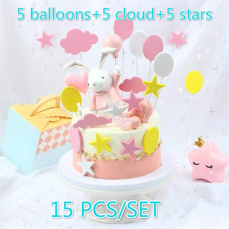 Awesome 15Pcs Lovely Star Birthday Cake Topper Colorful Cloud Balloon Personalised Birthday Cards Veneteletsinfo