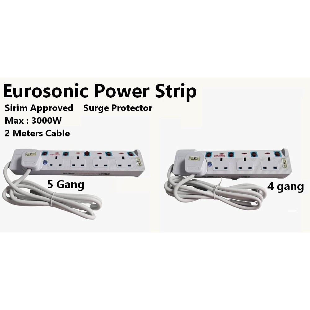Eurosonic Power Strip Extension Socket 2 Meter Wire with Surge Protection with 4 Gang Sockets 5 Gang Sockets