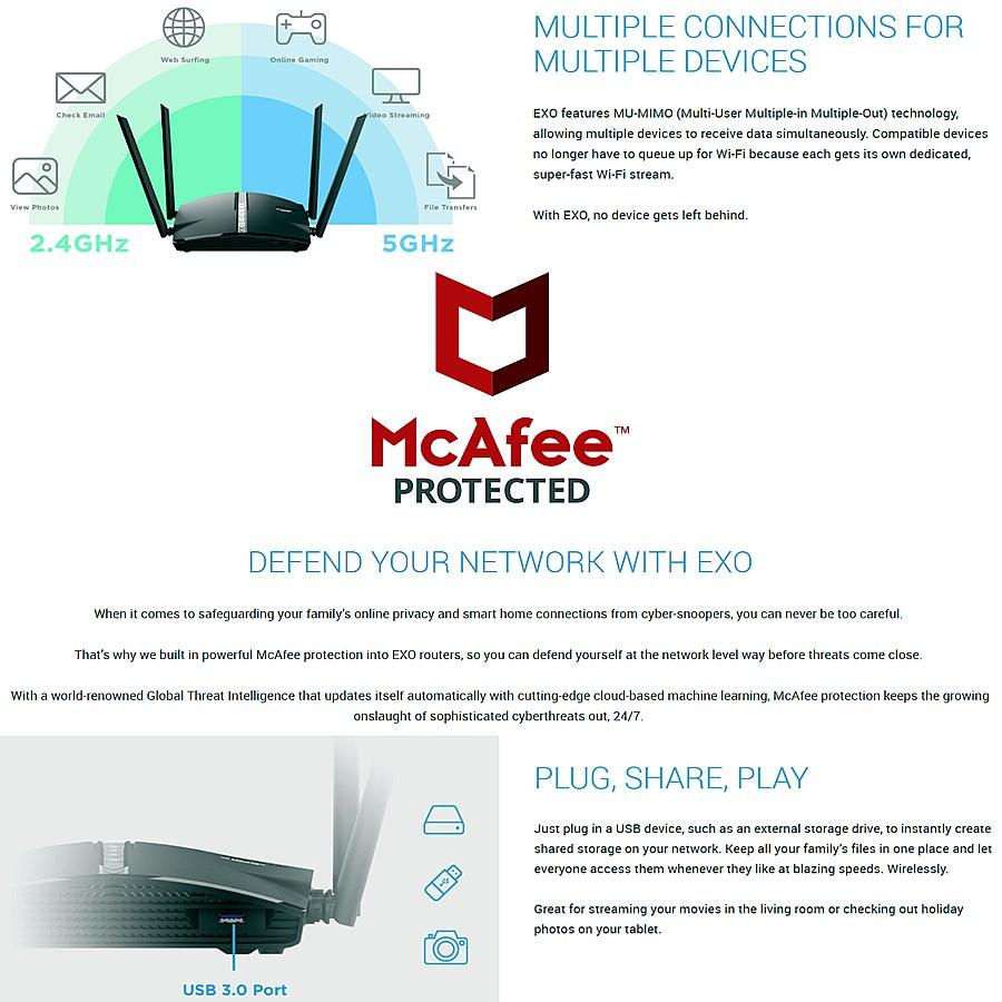 D-Link EXO AC1300 Gigabit Smart Mesh WiFi Wireless Router DIR-1360 with Antivirus DRA-1360