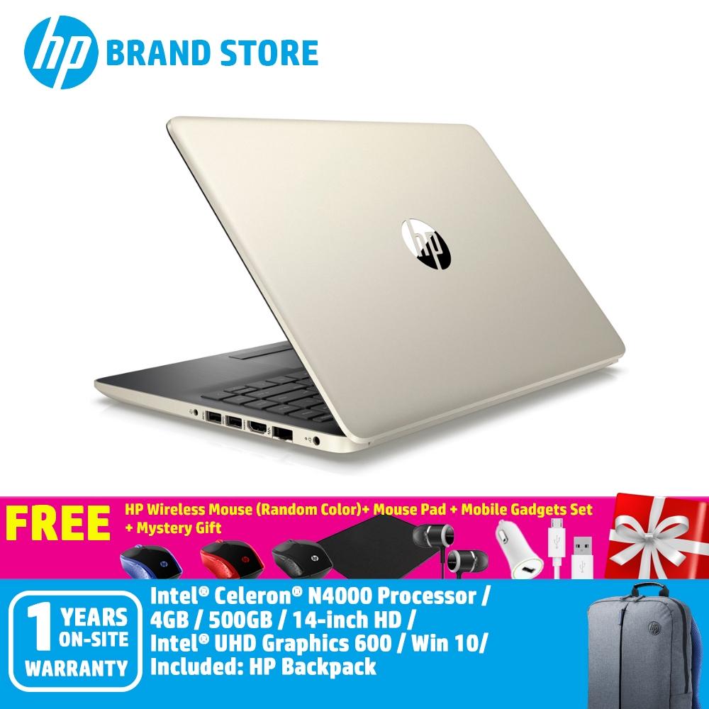 Hp 14s Cf0065tu Notebook 6jm54pa Pale Gold Celeron 4gb 500gb Intel 14inch Fhd Win 10 Shopee Malaysia
