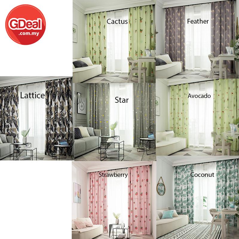 GDeal [Thick Curtain] 1pc Semi Blackout Curtain Garden Desig...