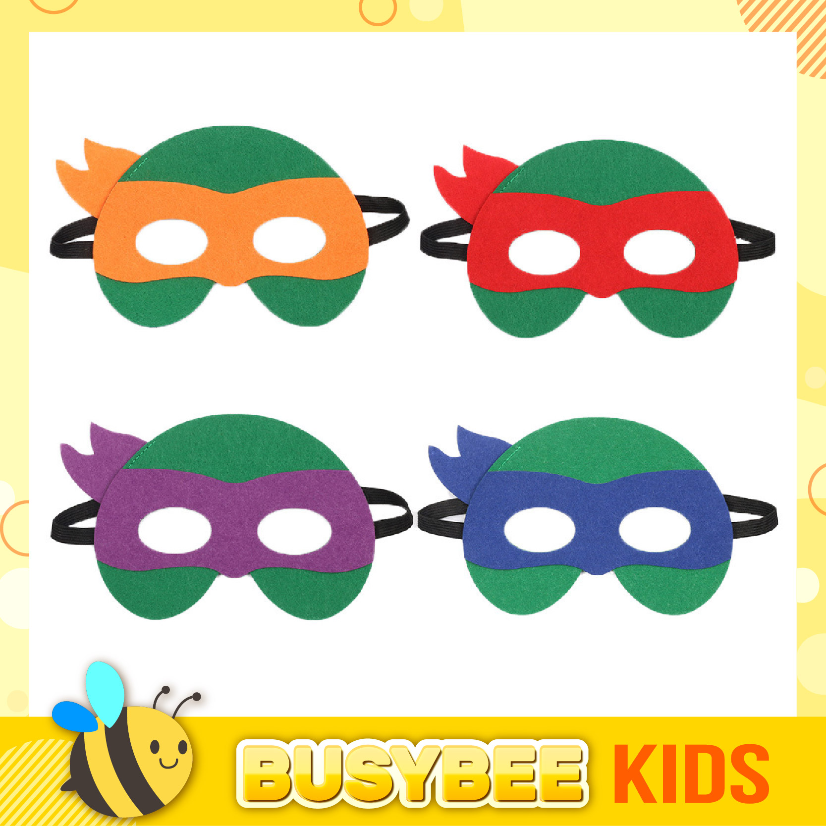 Kids boy girl Pretend to Play Ninja Turtle Superhero Felt Face Mask best for Halloween / Topeng muka Ninja Turtle