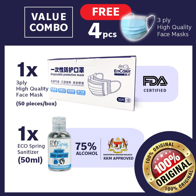 Ecospring Hand Sanitiser 50ml Kill 99.9% Germs and Encaier 54 pcs Cover for Face