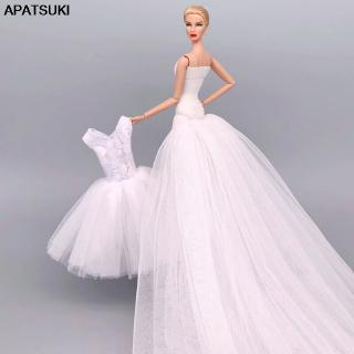 Coral Barbie Doll Dress Outfits High Quality Evening Party Gown Barbie Doll Wedding Dresses Veil 1 6 Doll Accessories Shopee Malaysia