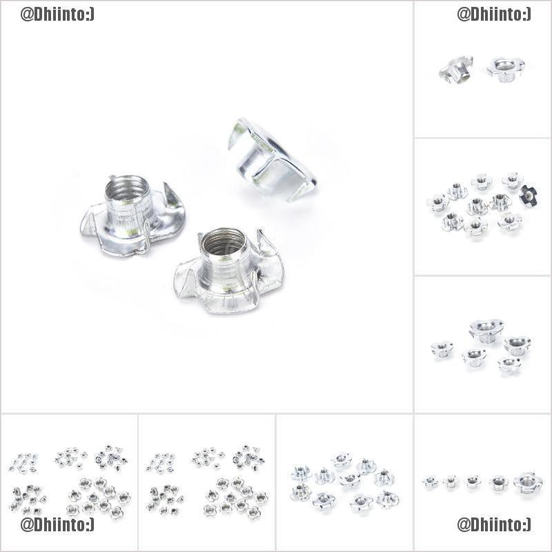 M6-6mm T Nuts For Furniture Blind Inserts Wood Four Pronged Captive