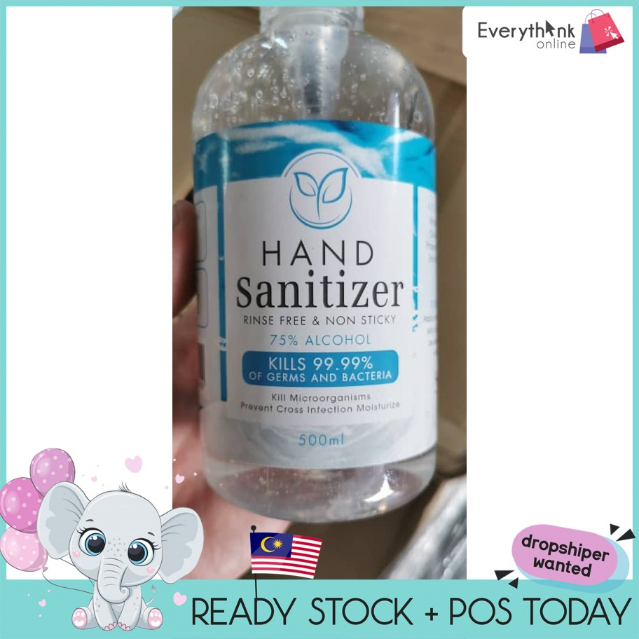 READY STOCK HAND SANITIZER RINSE FREE & NON STICKY 75% ALCOHOL 500ML