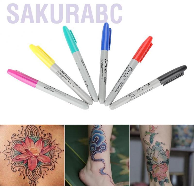Sakurabc Qianmei 6pcs Set Tattoo Marker Positioning Pen Permanent Makeup Body Art Beauty Tool Shopee Malaysia