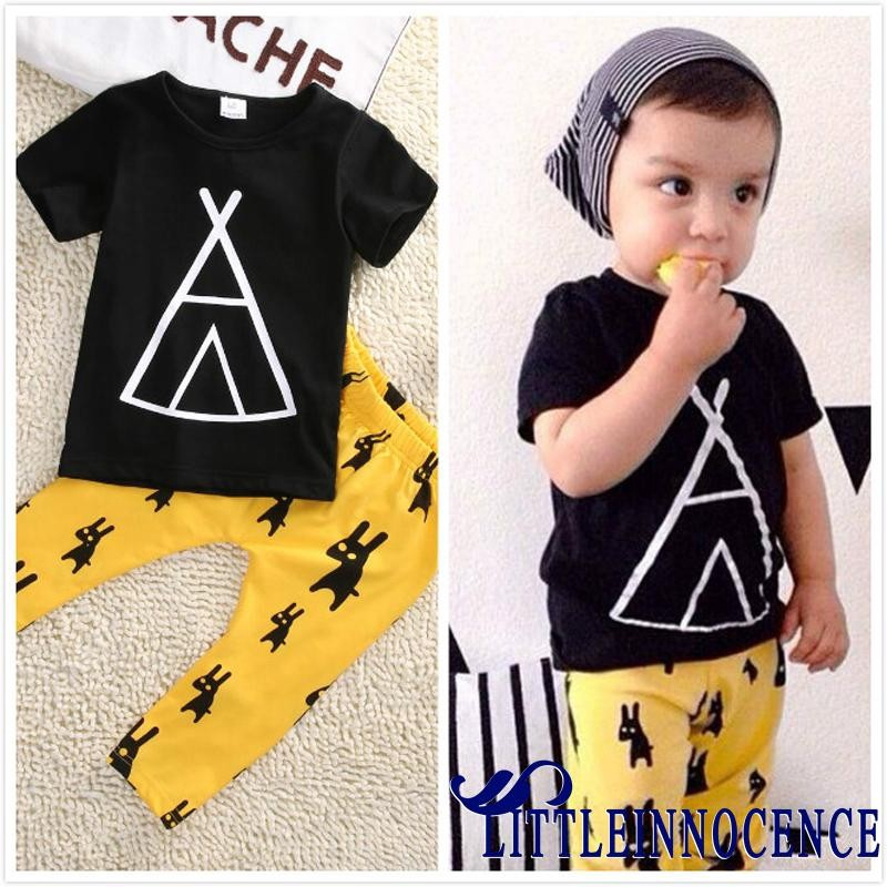 Kids Baby Boys Girls T-shirt Tops+Pants Outfits Clothes Set Toddler Newborn Suit