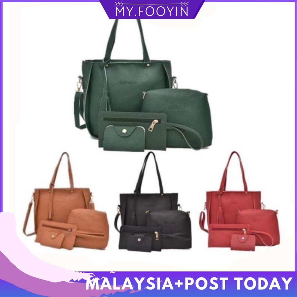 9a0a076d1aef 🔥Ready Stock 🔥 4 in 1 Bag Shoulder Sling Tote Beg Purse Handbag Wallet